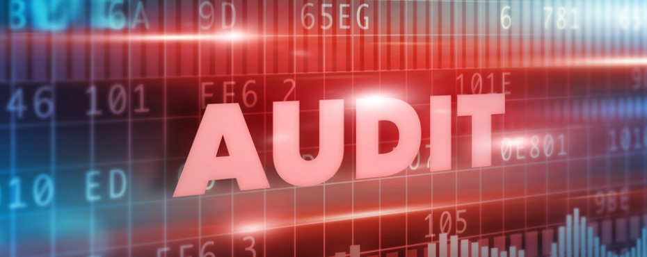 Audit concept with red background red text